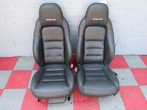 09 C6 Z06 Corvette Front Seats Black Leather Red Stitching Pair Aab Fits 09 11