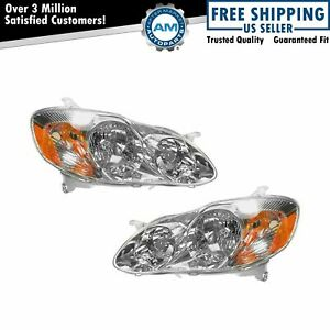Headlights Headlamps Left Right Pair Set New For 03 04 Toyota Corolla Ce Le