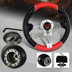 320mm Black Red Pvc Leather 6 hole Racing Steering Wheel For Acura Adapter