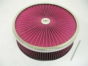 14 X 4 Round Super Flow Air Cleaner Street Rat Rod Washable Reuseable Chevy Ford