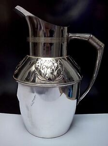Beautiful Germany Art Nouveau Orivit Silverplate Pitcher Ca 1890