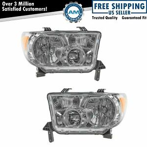 Headlight Headlamp Light Lamps Halogen Lh Rh Pair Set For Sequoia Tundra