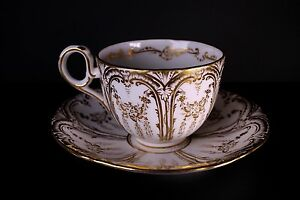 English Porcelain Gold White Hand Painted Cup And Saucer