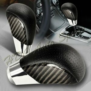 Vip Real Carbon Fiber Pvc Leather Manual Mt Gear Shift Shifter Knob Universal 3