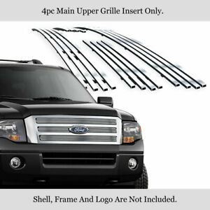 Fits 2007 2014 Ford Expedition Main Upper Stainless Steel Silver Billet Grille