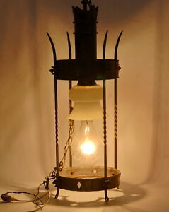 Antique Gothic Wrought Iron Entrance Light Fixture Working Condition