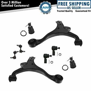 Lower Control Arms Ball Joints Sway Bar End Links Tie Rod Front 8 Piece Kit Set