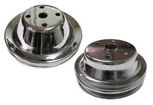 Small Block Chevy 1 2 Groove Chrome Steel Water Pump Crank Pulley Long Pump
