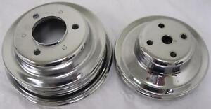 Chrome Pulleys Pulley Bbc Big Block Chevy Lwp 396 454 Long Water Pump Pulley