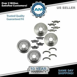 Front Rear Posi Ceramic Disc Brake Pads Rotors With Parking Shoes For Ford Suv