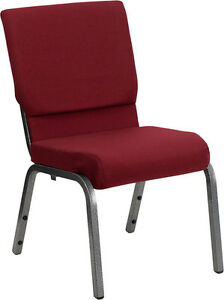 Lot Of 50 18 5 w Burgundy Fabric Stacking Church Chair Silver Vein Frame