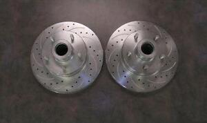 Street Rod 11 Front Big Disc Brake Slotted Rotors 5 X 4 75 Chevy Pair