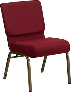 Lot Of 50 21 Extra Wide Burgundy Fabric Stacking Church Chair Gold Vein Frame