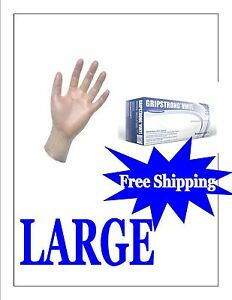 Vinyl Disposable Gloves Pf food Service Large 5 Boxes 500 Free Shipping