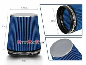 Blue Short 6 152mm Inlet Truck Air Intake Cone Replacement Dry Air Filter