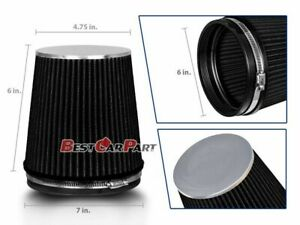 Black Short 6 152mm Inlet Truck Air Intake Cone Replacement Dry Air Filter