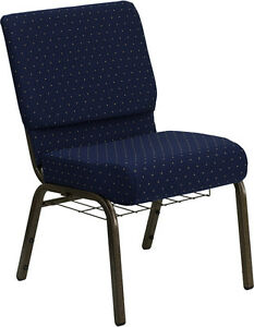 Lot Of 50 21 Wide Navy Blue Fabric Church Chair Communion Cup Book Rack