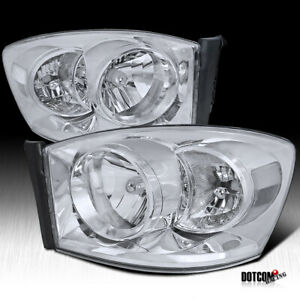 2006 2008 Dodge Ram Pickup Crystal Clear Headlights Head Lamps no Amber Bar
