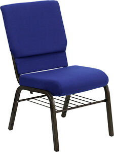 Lot Of 100 18 5 Wide Navy Blue Fabric Church Chair With Book Rack