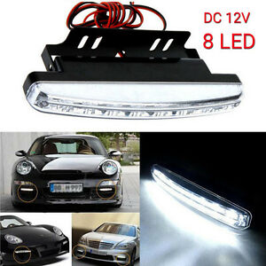 1pc 8 Led Daytime Driving Running Light Drl Car Fog Lamp Waterproof Dc 12v White