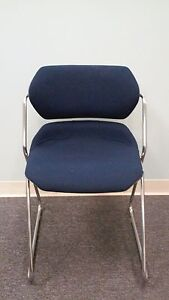 Navy Blue Fabric Action Stacker Guest Chairs Tag 18 Never Used Great Condition