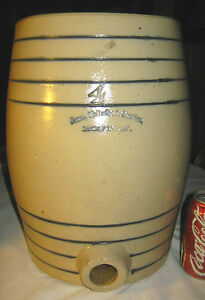 Antique Sign Country Stoneware 4 Gal Water Cooler Art Bottle Crock Jug Boston Ma