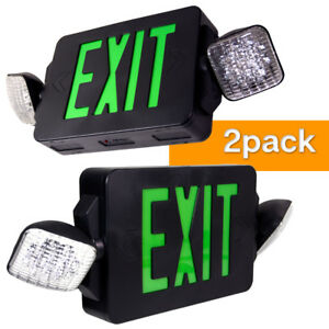 2 pack twin Led Exit Emergency Light Green Black Sign Compact Combo Lighting