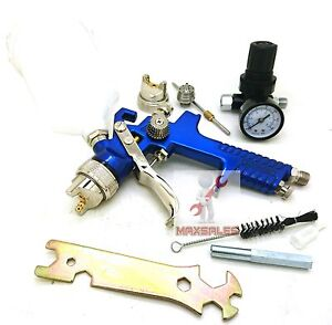 1 4mm 2 0mm Hvlp Air Paint Spray Gun W Gauge Auto Painting Automotive Shop