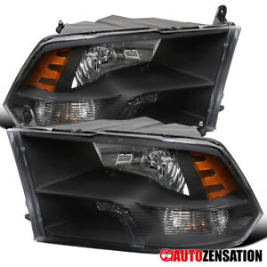 For 2009 2018 Dodge Ram 1500 2500 3500 Black Quad Lamps Headlights Pair