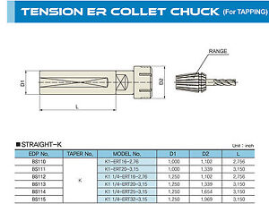 1 1 4 Straight Shank Tension Er25 039 62 9 Capacity Tapping Collet Chuck