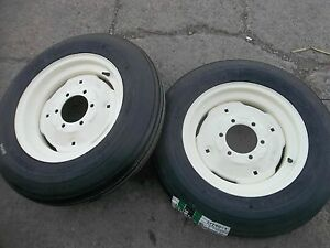 Two 600x16 600 16 6 00 16 Six Ply Rib Implement Tractor Tires W rims