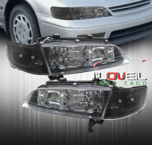 1994 1997 Honda Accord 2pc Black Housing Headlight Corner Lamps Lx Ex V6 Set