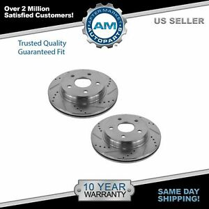 Nakamoto Performance Drilled Slotted Front Coated Brake Rotor Pair For Chrysler
