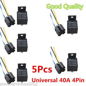 5 Pcs Black 12v 40a 4 Pin Car Automobile Premium Relay 4 Pins Socket With Wire