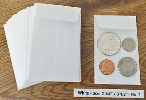 25 New Small 2 1 4 X 3 1 2 White Coin Envelopes 5 7x8 89cm coins Not Included