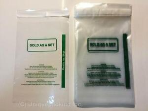 800 9x12 ps Clear Permanent Seal 1 6 Mil Poly Bags With Suffocation Warning