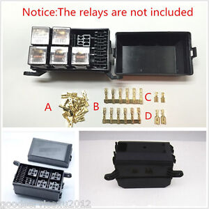 New Black Car Vehicles 6 relay 5 Road Relay Box Relay Fuse Holder Insurance Tool