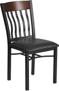 Lot Of 20 Vertical Back Black Metal And Walnut Wood Restaurant Chair