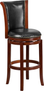 30 High Dark Chestnut Wood Barstool With Black Leather Swivel Seat