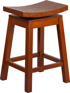 26 High Saddle Seat Light Cherry Wood Counter Height Stool With Auto Swivel Se