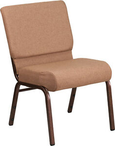Lot Of 100 21 Extra Wide Brown Fabric Stacking Church Chair W 4 Thick Seat
