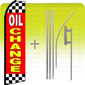 Oil Change Swooper Flag Kit Feather Flutter Banner Si Checkered Top Bottom Rz