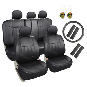 Black Faux Leather Car Seat Covers 17pcs Full Set With Steering Wheel belt Pad