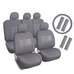Grey Car Seat Covers Set For Honda Toyota With Headrest steering Wheel Cover