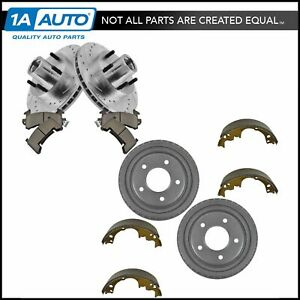 Performance Brake Drilled Slotted Rotor Ceramic Pad Drum Shoe Front Rear Kit
