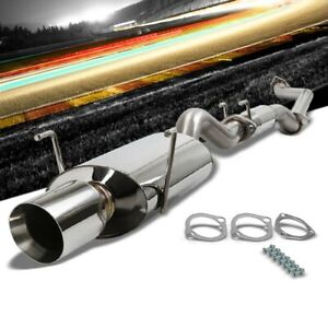 4 Oval Roll Muffler Tip Exhaust Catback System For 02 06 Rsx Type s 2 0l Dohc