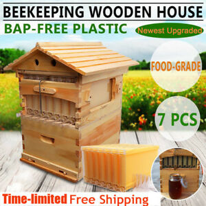 7x Upgraded Auto Honey Hive Beehive Flow Frames Beekeeping Brood Cedarwood Box