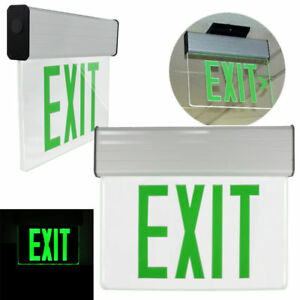 Green Led Lamps Exit Sign With Emergency Lights