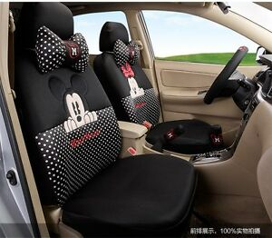 On Sale New Mickey Minnie Mouse Car Seat Covers Cushion Accessories Set 18pcs