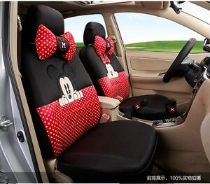 On Sale Mickey Minnie Mouse Car Seat Covers Cushion Accessories Set 18pcs
